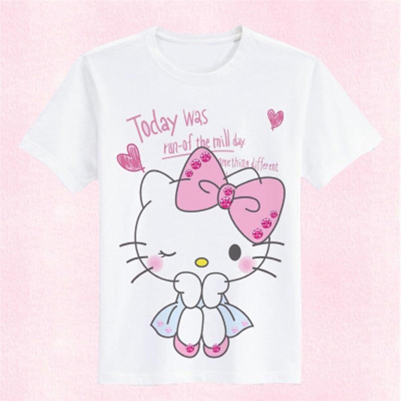 Hello Kitty niños camisetas niñas camisetas camiseta verano algodón divertido Kawaii blanco Camiseta cuello redondo de manga corta ropa para niños