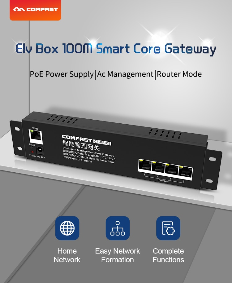 Enrutador inteligente de CA Wifi para red Wifi inteligente Control de flujo 4 puerto Lan 10/100Mbps 48V router de pasarela de administración de CA de POE