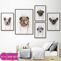Toile de decoration de noel  affiches danimaux  chien  dessin anime drole  image dart mural pour salon  decoration de maison