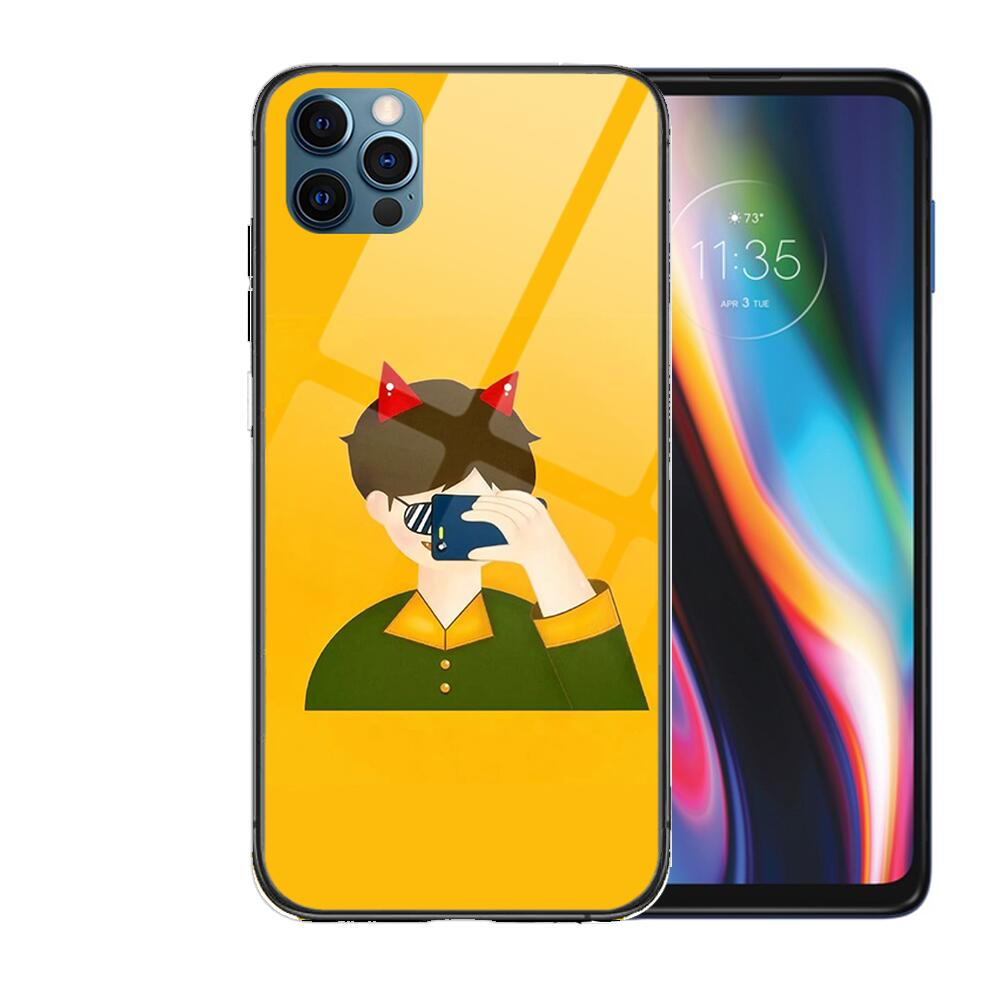 Cute cartoon couple baby Glass Case For iphone 12 11 Pro Max 12Pro XS Max XR X 7 8 Plus SE 2020 Case Tempered Back Cover