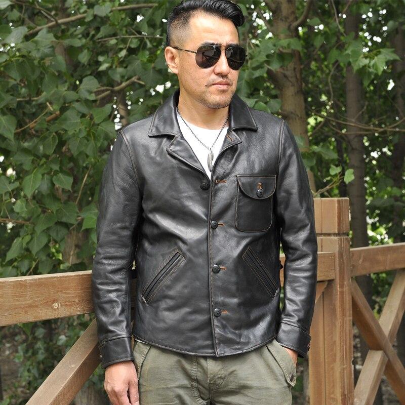2021 أسود نمط عادية جلد طبيعي سترة الرجال واحدة الصدر حجم كبير 3XL الحقيقي الطبيعي السبيب الربيع ضئيلة معطف قصير