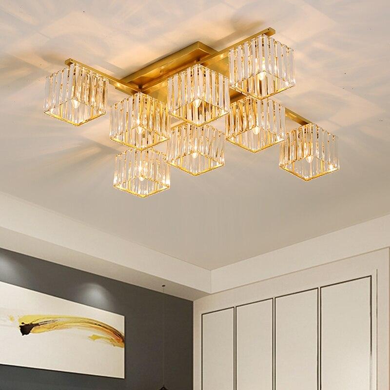 2021 سقف معلق LED الداخلية كريستال الثريا E27 الحديثة الشمال غرفة المعيشة غرفة نوم السقف ضوء الزخرفية الذهب الأسود