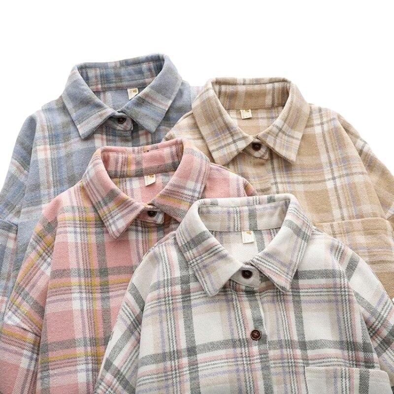 Повседневная клетчатая рубашка большого размера с длинным рукавом и отложным воротником, куртки на пуговицах, демисезонные свободные топы ...