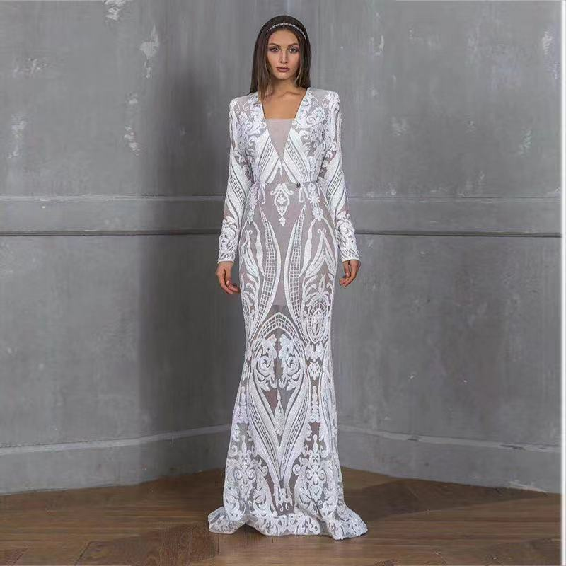 Women's Banquet Clothing Style Embroidery Lace Solid Color Wedding Dress Long-sleeved Fashion Ladies A-line Skirt WE153 plain lace embroidery a line beach dress