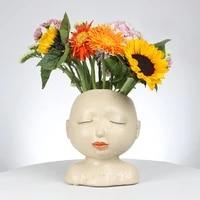 nordic ins style resin vase meditation girl head sculpture flower arrangement home decoration crafts ornaments ceramic