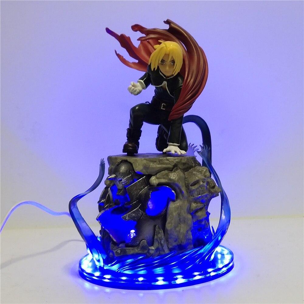 Figuras de Anime LED Fullmetal alquimista Edward Elric luces de la noche juguetes de acción de PVC Figma modelo Brinquedos Elric iluminación estatuilla