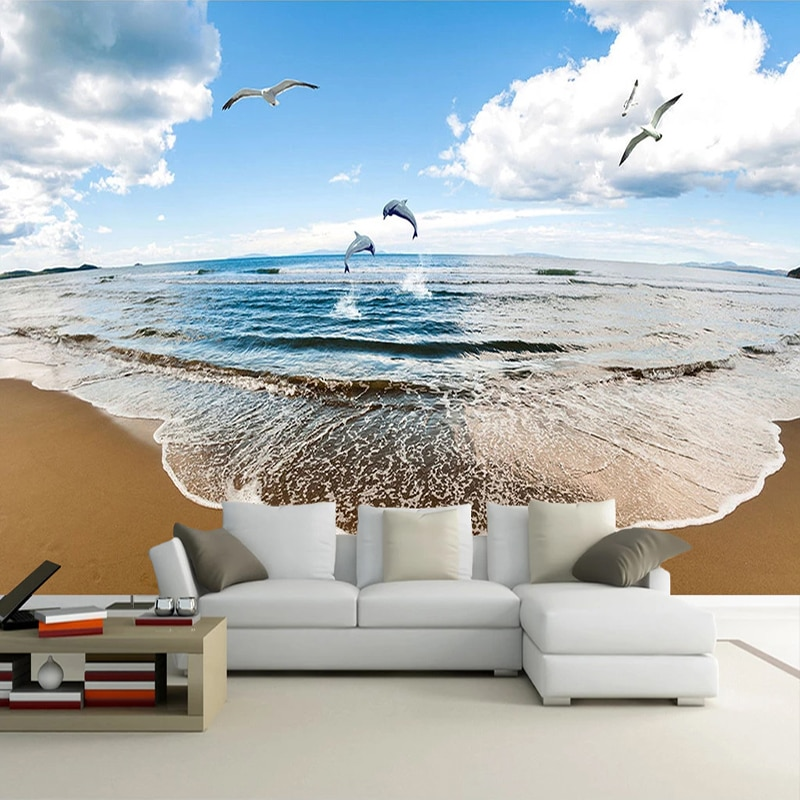 Mural personalizado Papel De Parede 3D cielo azul nubes blancas mar paisaje arena playa Foto fondo pared pintura sala De estar