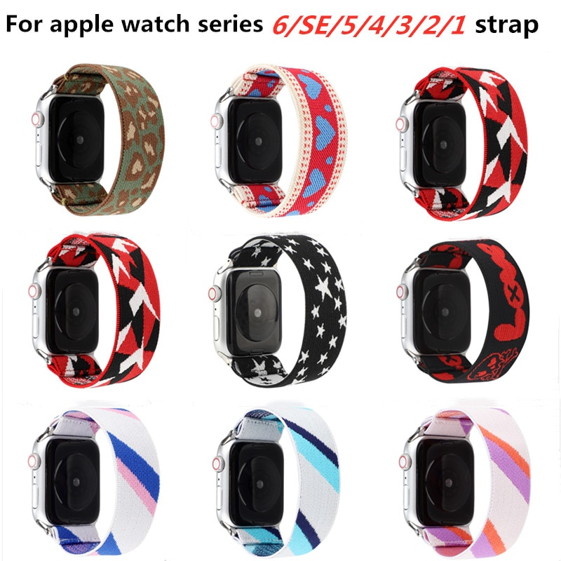 scrunchie elastic watch straps watch band for apple watch band series 6 se 5 4 3 2 1 38mm 40mm 42mm 44mm for iwatch ladies strap Elastic strap For Apple Watch Strap 44mm 40mm 38mm 42mm Nylon elastic Bracelet for iWatch Apple Watch Series SE 6 5 4 3 2 1 band