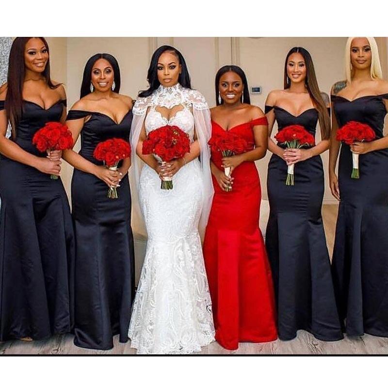 Vestidos de dama de Honor largos con volantes de satén azul marino vestidos de talla grande vestidos de dama de Honor sirena 2020 de talla grande