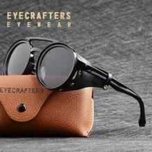 2020 NEW Men Steampunk Gothic Goggles Sunglasses Women Retro Fashion Leather With Side Shades Round Sun glasses