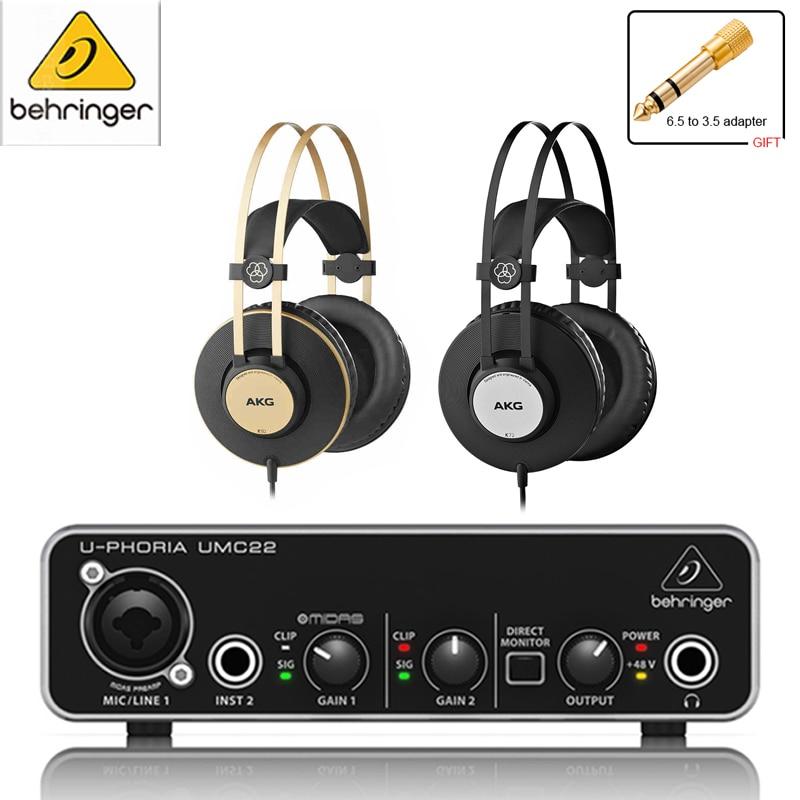 Original Behringer umc22 sound card audio interface Amplifier AKG K92/K72 Headset headphones enlarge