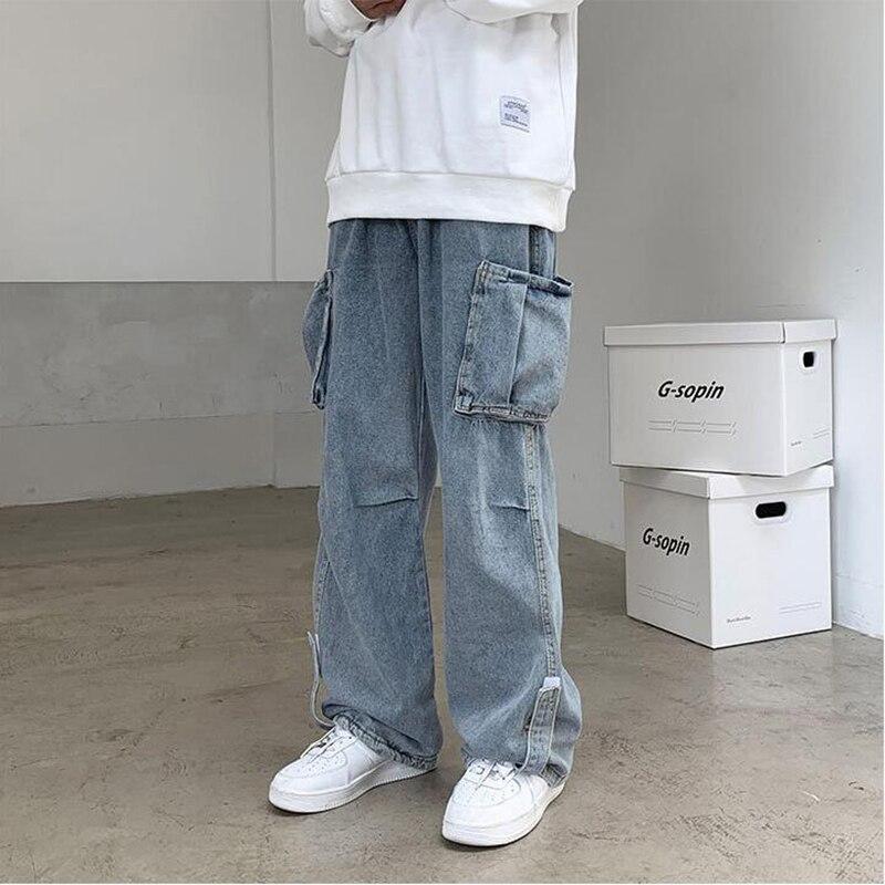 Pantalones vaqueros de mezclilla para hombre... ropa de work tubo recto... holgados......