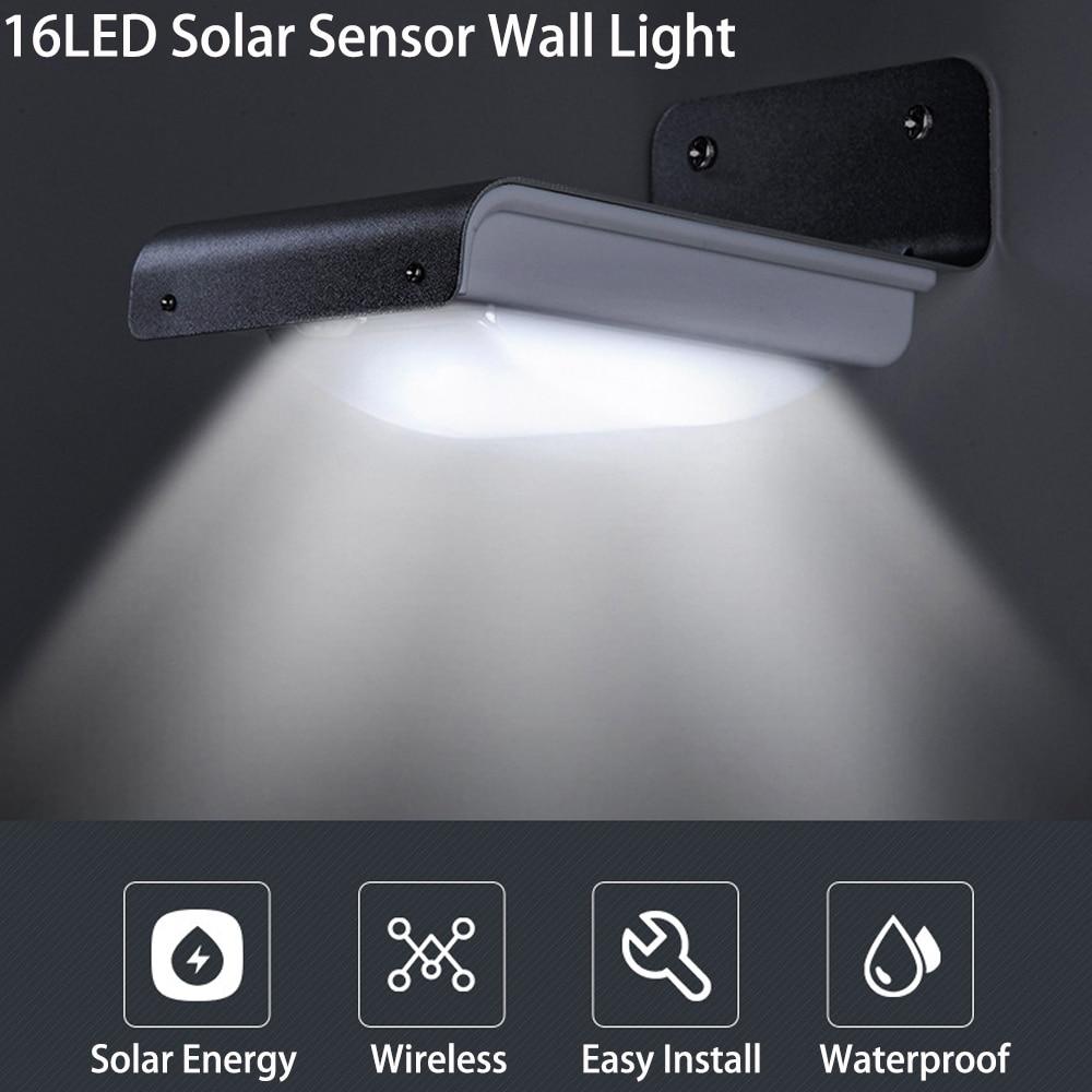 16LEDs Solar Light PIR Motion Sensor Solar Powered Street Light IP44 Outdoor Energy Saving Garden Garage Patio Wall Lamp (White)