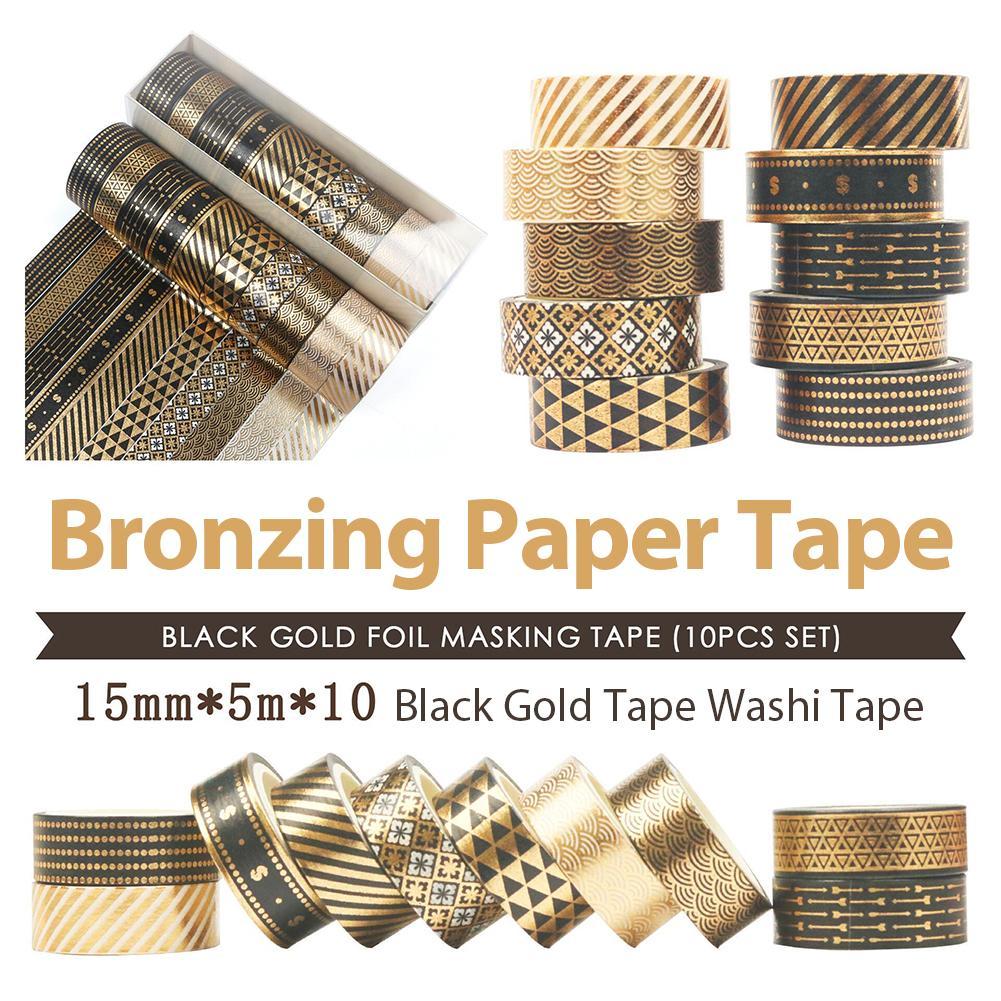 10 Rolls Bronzing Papier Tape Duurzaam Zachte Lijmen Zwarte Goud Tape Washi Tape 15 Mm