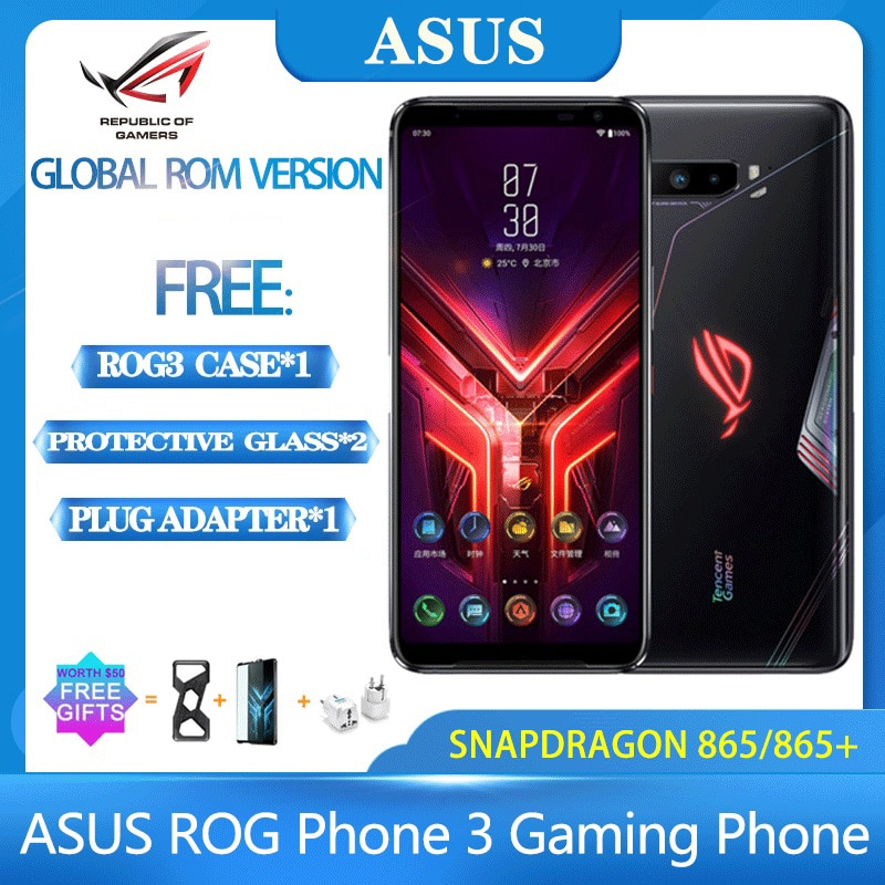 NEW ASUS ROG Phone 3 Snapdragon 865 / 865 Plus ROG3 NFC Gaming phone 6000mAh Battery 128/256/512G 5G Smartphone ROG phone 3