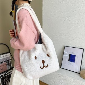 2021 Large Capacity Lamb Wool Bag Female One Shoulder New Trendy Autumn and Winter Wild Korean Ins Bear Tote Bag