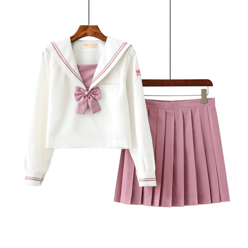 school uniform outfit white short sleeve top and pink skirt Pretty Cute Pink School Uniform Short Long Sleeve Top Option Pleated Skirt Suit School Girls Stage Performance Sailor Uniforms