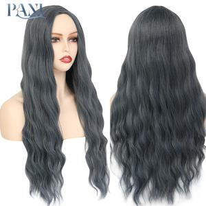 PANI 24 inch Long Water Wave Wig for Women synthetic wig lace Natural Hair Extension Heat Resistant Fiber Lolita Wig Middle Part
