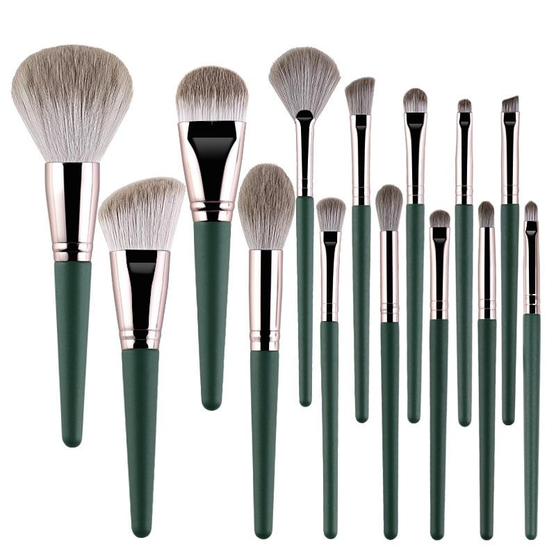 14pcs High Quality Wooden Handle Makeup Brush Kit with Bag Soft Cosmetic Beauty Brushes Eyeshadow Foundation Blush Brush
