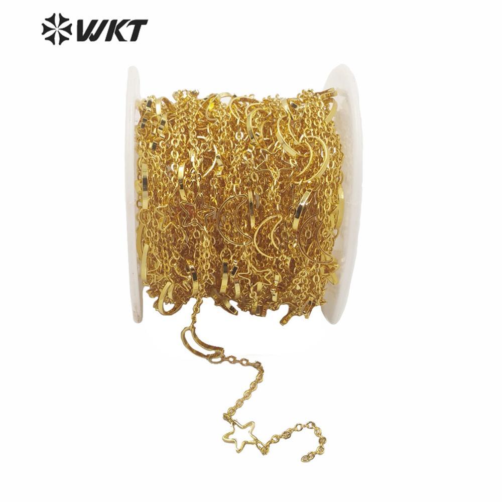 ¡OFERTA DE WT-BC140! Joyería para mujer, cadena de luna y estrella para collar, oro galvanizado, venta por metro, cadena de estrella de latón para cadena DIY