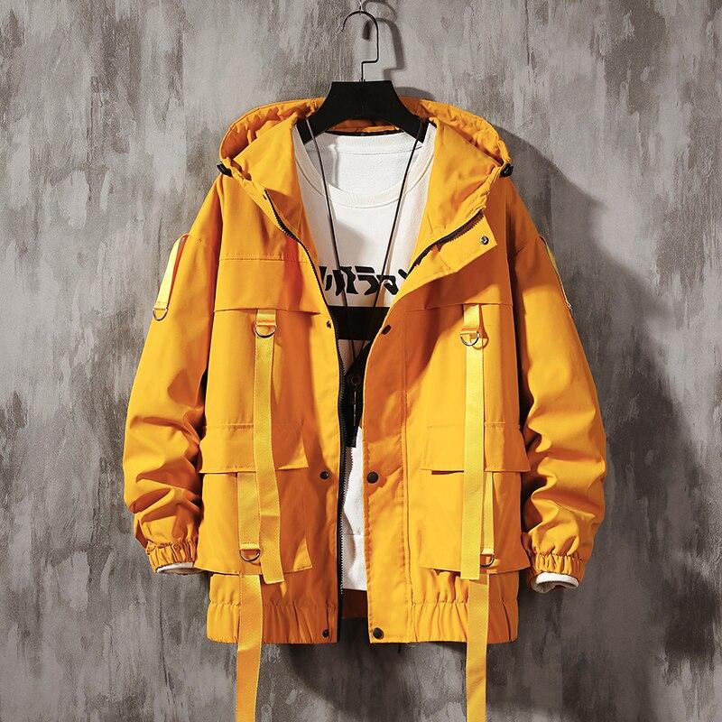 Dropshipping Men Streetwear Hip Hop Bomber Jacket 2021 Man Harajuku Ribbons Pockets Windbreaker Korean Style Fashions Clothing