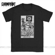 Men T-Shirt Death Tarot Card Major Arcana Fortune Telling Occult Cotton Tees Short Sleeve The Magician Empress T Shirt Plus Size