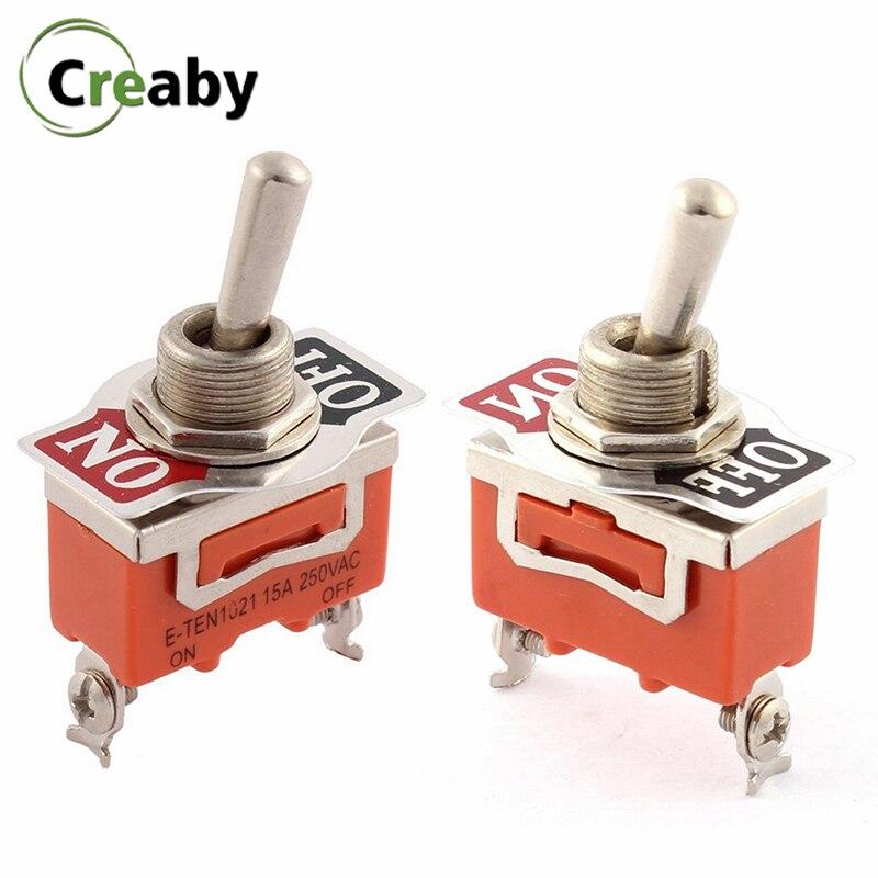 10 pces on-off spst 2 terminal resistente mini rocker interruptor de alternância 15a 250v laranja switches E-TEN 1021