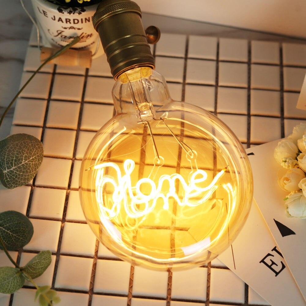 Led Bulbs Vintage Light Bulb Edison Bulbs 4Watts Character Love/Home Round lamp Led Filament Decorative Light Bulb 220/240V E27