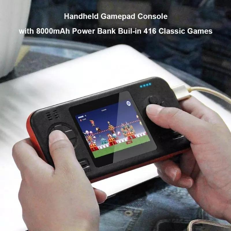 Miniconsola portátil 2 en 1, con batería externa de 8000mAh, 416 juegos,...