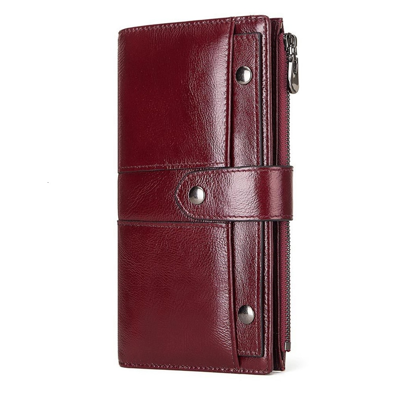 Alta qualidade de couro genuíno das mulheres carteira feminina bolso do telefone celular longo bolsa ferrolho couro vaca senhora moeda bolsa titular do cartão