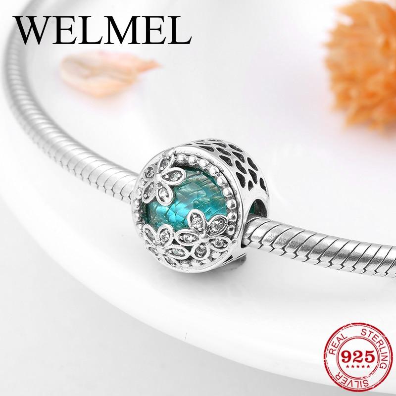 Delicado brazalete de Plata de Ley 925 con tres flores y cuentas de circonia cúbica de color verde para hacer joyas