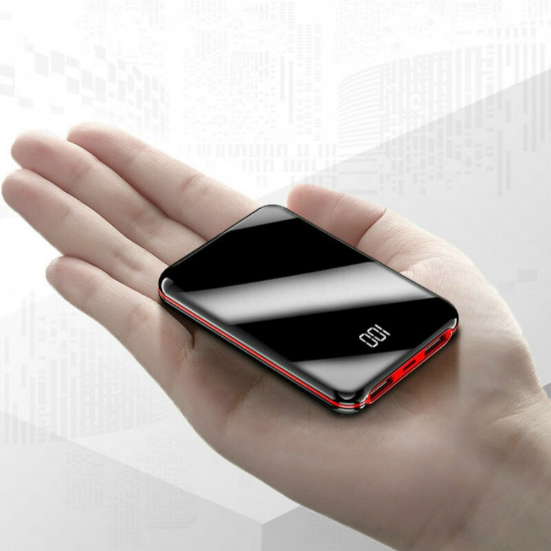 Mini Power Bank 30000mAh Mirror Screen Powerbank Charger 2 USB Ports External Battery Poverbank Port