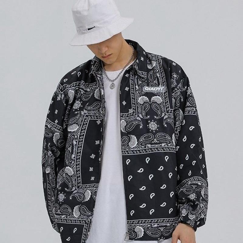 Куртка мужская демисезонная в стиле хип-хоп, модная ветровка, бандана, уличная одежда с принтом пейсли, верхняя одежда, 2021