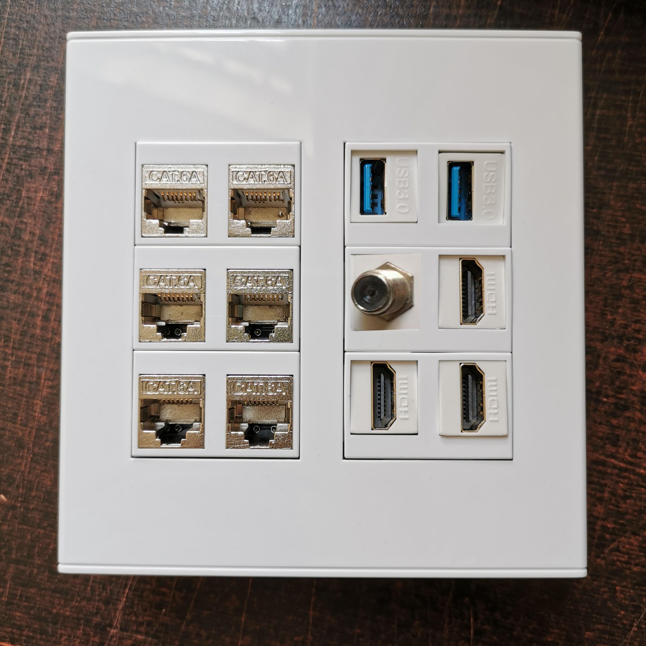 120x120mm diy placa frontal com f cabeça tv 2 portas usb3.0 hdmi2.0 6 soquetes cat6a rj45