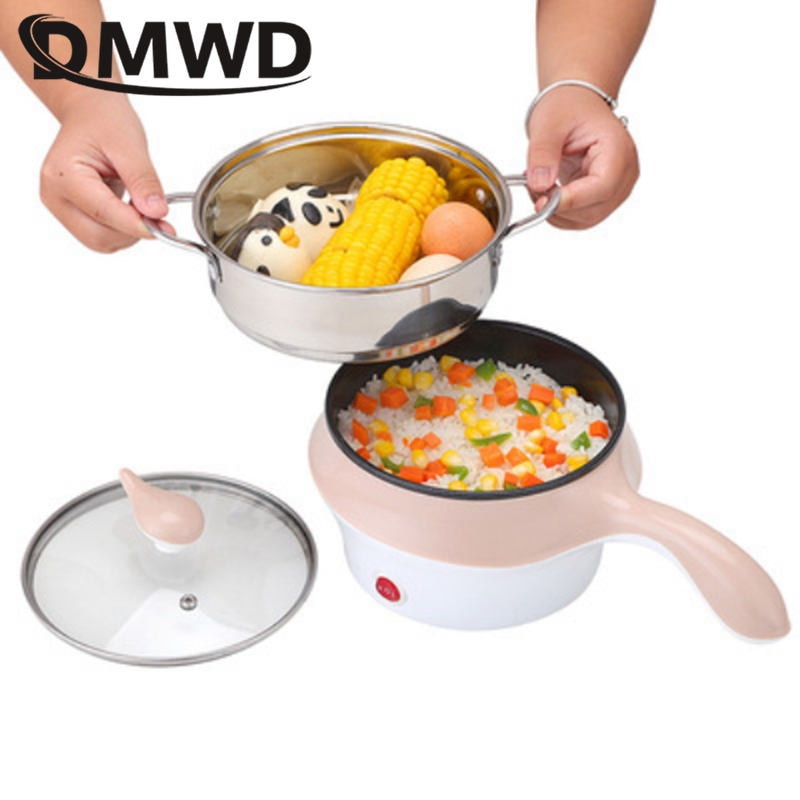 DMWD 1.2L متعددة الوظائف وعاء طبخ كهربائي مع باخرة غير عصا جهاز طهي الأرز إناء/ قدر المعكرونة المرجل جهاز تسخين الطعام باخرة المقلاة