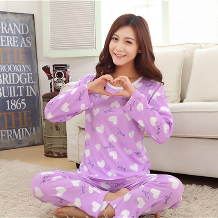Atacado Caixa Geração 22 Pijama Define Primavera Outono Estilo Fino Mulheres De Longo Sleepwear Terno Casa Dom Mulheres Sleepwear Feminino