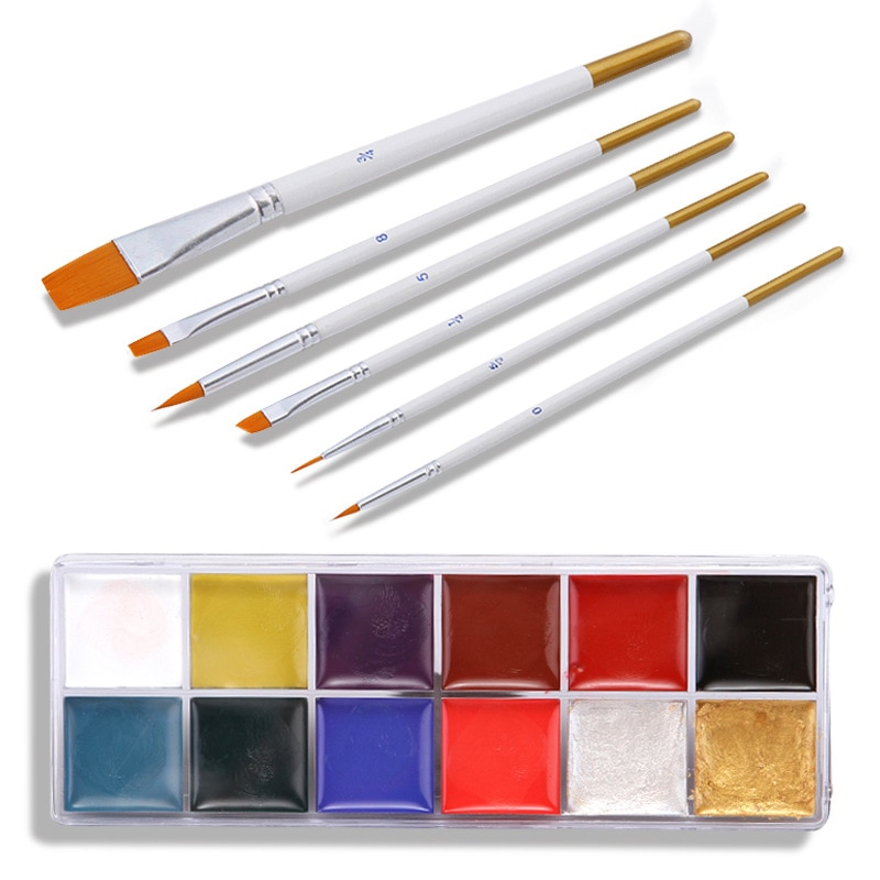 12 цветов масляная краска Хэллоуин Макияж масляная краска для тела Рисунок для тела специальные эффекты макияж для лица макияж краска для те...