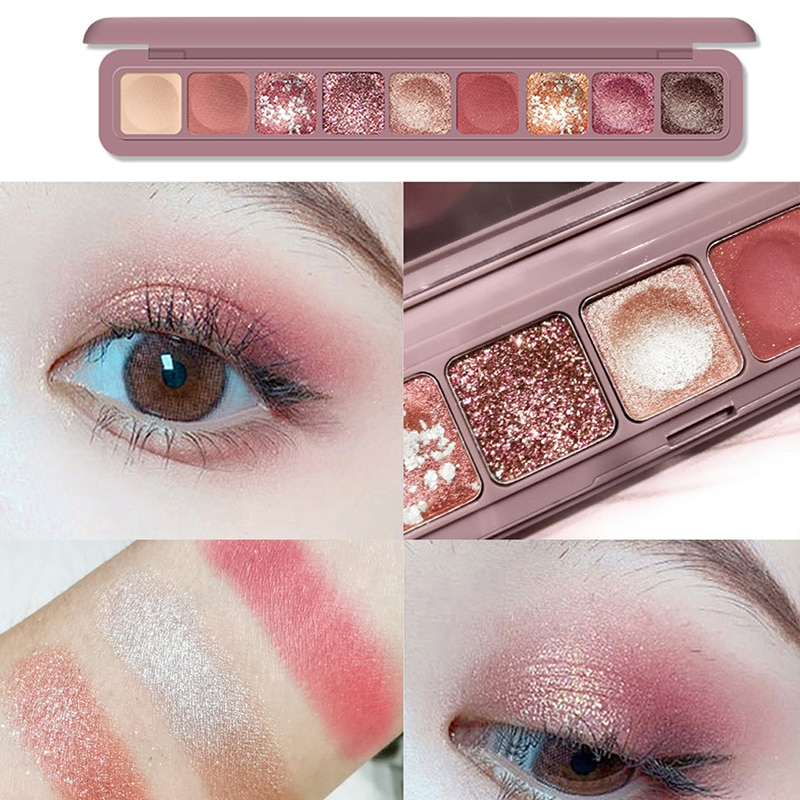 MARC BUSE 9 Color Shimmer Matte Glitter Finger Tip Eyeshadow Palette Nude Pigment Eye Shadow Powder Makeup Diamond Shine Eyelids