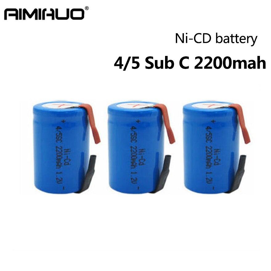 4/10/20 piezas 4/5 Sub C SC ni-cd 1,2 V 2200mAh baterías recargables con pestañas de soldadura para taladro eléctrico Bosch Dewalt destornillador