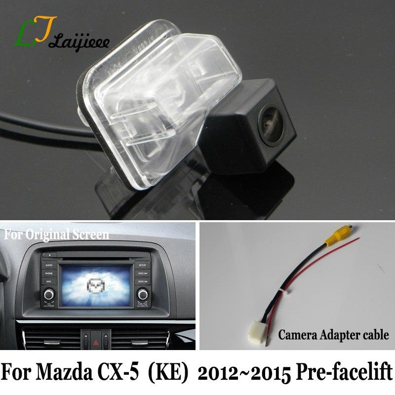 Câmera traseira de backup & cabo adaptador para mazda CX-5 cx5 cx 5 2012 2013 2014 2015 pre-facelif oem monitor compatível câmera reversa
