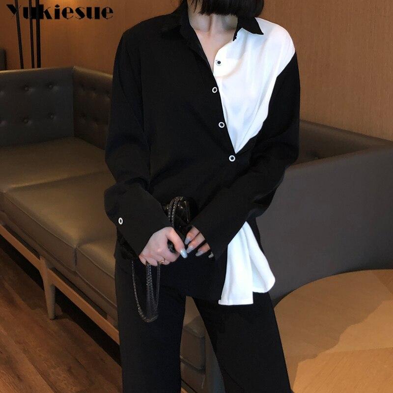woman blusas mujer elegantes 2021 summer black white patchwork Long sleeve Women's shirt Top blouses and shirts women tops