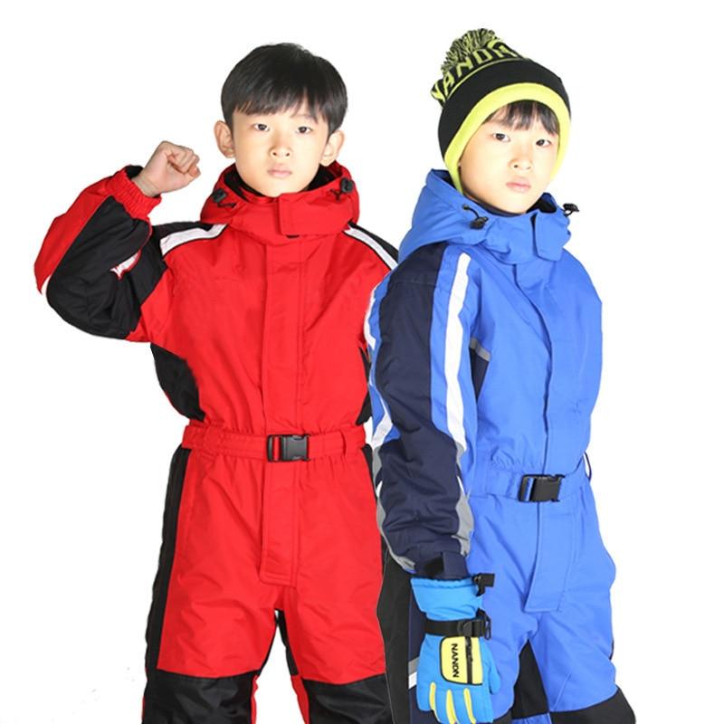 Детский зимний цельный лыжный костюм для мальчиков и девочек детский плотный теплый Анорак для сноуборда брюки костюм