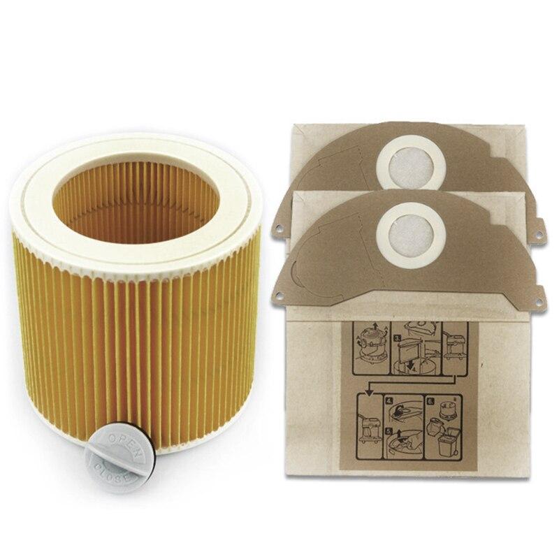AD-3Pcs filtros de poeira hepa para karcher aspiradores peças cartucho filtro hepa a2204 vc6100 a2004 wd3.200 vc6200