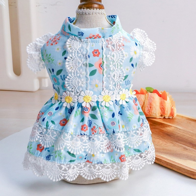 Summer Pet Wedding Dresses Clothes Little Daisy Lace Dress For Dogs Skirt Princess Dog York Chihuahua  Pet Dress Small Costume
