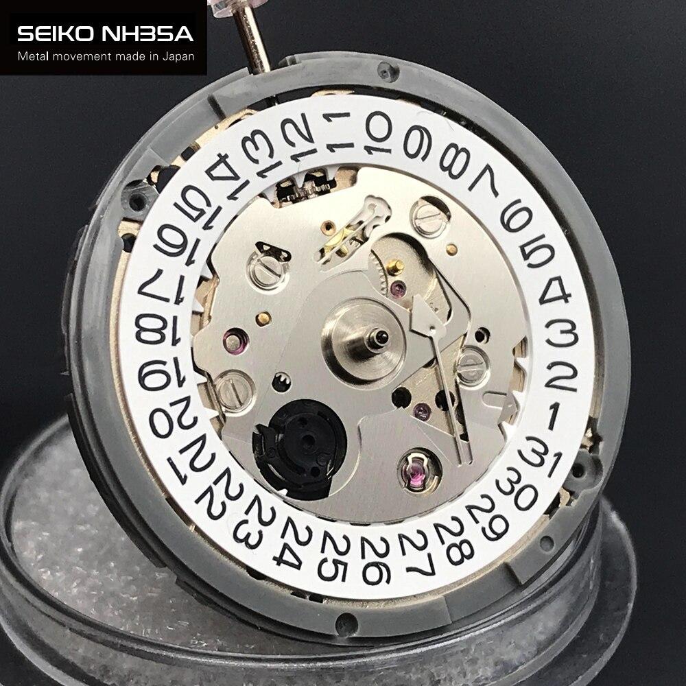 الأصلي اليابان الحركة الميكانيكية 24 جواهر مع تاريخ أبيض NH35 NH35A آلية أوتوماتيكية ل ساعة ماركة فاخرة 4R35 حركة