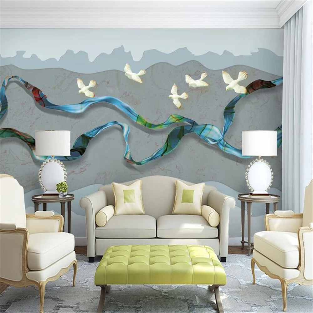 Milofi custom wallpaper mural new Chinese style abstract lines artistic conception landscape scenery background wall mural
