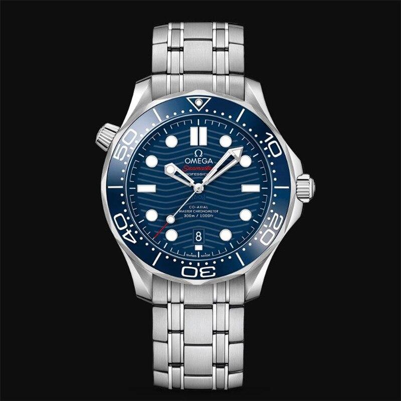Omega-marca de luxo cerâmica bezel masculino aaa mecânica ss 007 movimento automático relógio de pulso de grife relógios 33 fim