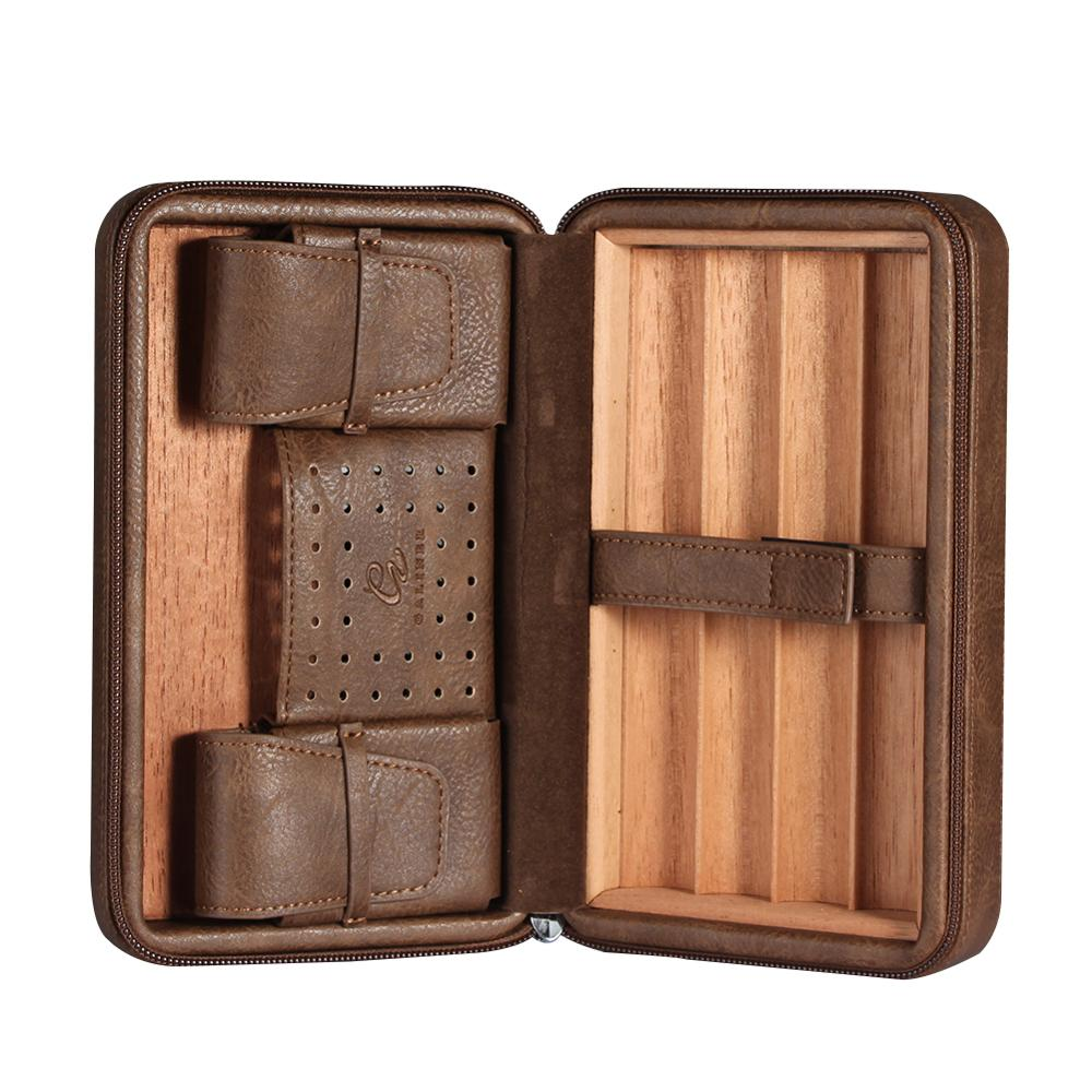 Cigar Humidor Box Leather Oblong Black Brown Portable Cigar Storage Holder (Not Include Cutter Lighter) Father's Day Gift