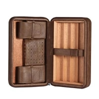 cigar humidor box leather oblong black brown portable cigar storage holder not include cutter lighter fathers day gift