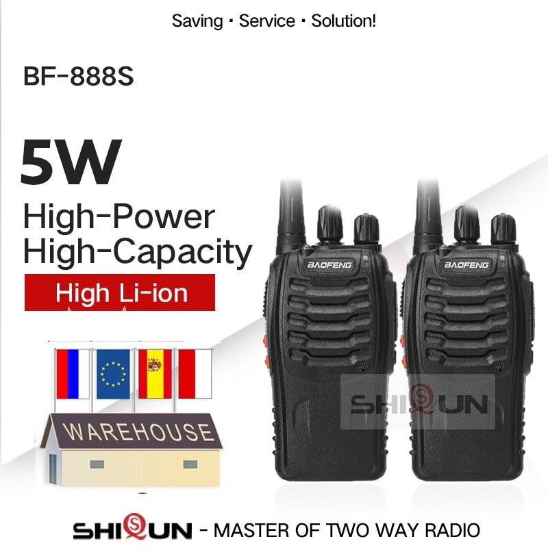 1PC or 2PCS Baofeng BF-888S Walkie Talkie 888s UHF 5W 400-470MHz BF888s BF 888S H777 Cheap Two Way Radio with USB Charger H-777